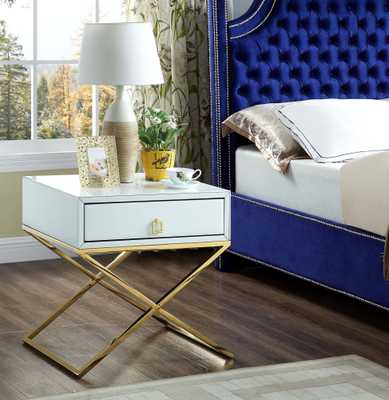 Everly Quinn Katondra 1 Drawer Nightstand: Gold/White - eBay