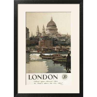 'London, England - Great Western Railway St. Pauls Travel Poster' Framed Vintage Advertisement - Birch Lane