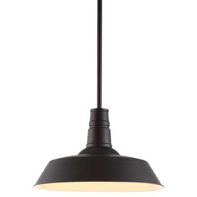 Falcon Industrial Loft Black Rust Metal Enamel Pendant - Kathy Kuo Home