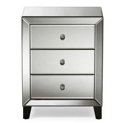 """Chevron 3-Drawer Silver Mirrored Nightstand, """"silver"""" Mirrored - Home Depot"""