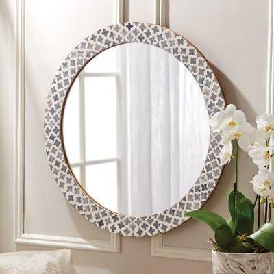 Quatrefoil Round White/Gray Wall Mirror - AllModern