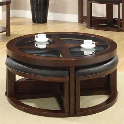 Furniture of America Barker 5 Piece Coffee Table with Ottoman Set in Dark Walnut - eBay