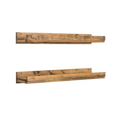 Rustic Luxe 36 in. W x 10 in. D Floating Dark Walnut Decorative Shelves (Set of 2) - Home Depot