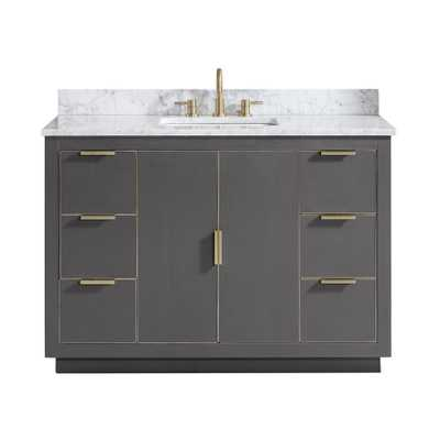 Avanity Austen 49 in. W x 22 in. D Bath Vanity in Gray with Gold Trim with Marble Vanity Top in Carrara White with Basin - Home Depot
