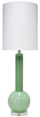 Studio Table Lamp in Leaf Green Glass with Tall Thin Drum Shade in White Linen - Jamie Young