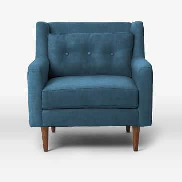 Crosby Arm Chair, Luster Velvet, Celestial Blue - West Elm