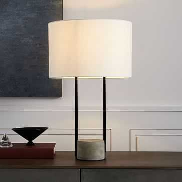 Industrial Outline Table Lamp, Concrete + Antique Bronze-Individual - West Elm
