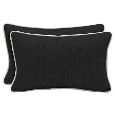 Home Decorators Collection Sunbrella Canvas Black Lumbar Outdoor Throw Pillow (2-Pack) - Home Depot