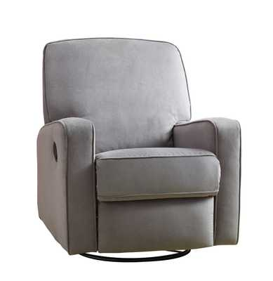 Harrison Transitional Swivel Glider Recliner w/ Track Arms in Grey Plush Fabric - eBay