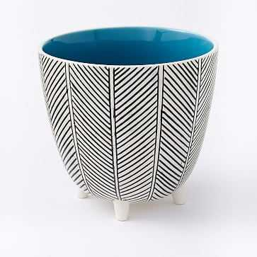 "Art in the Forest Cachepot, Herringbone/Teal, 6"" - West Elm"
