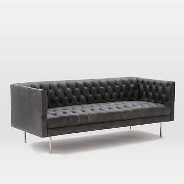 "Modern Chesterfield 79"" Sofa, Charme Leather, Licorice, Silver Legs - West Elm"