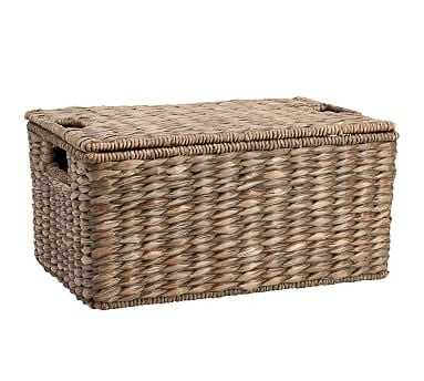 Charleston Basket Lidded, Medium - Gray - Pottery Barn