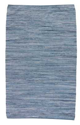Raggedy Handmade Solid Blue Area Rug (9' X 12') - Collective Weavers