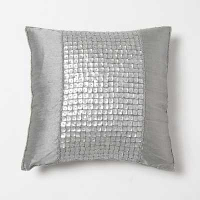 Faux Silk Mother of Pearl Silver Pillow - Home Depot