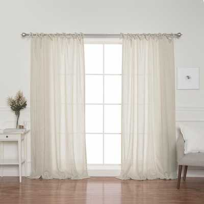 Best Home Fashion Natural Faux Linen Tie Top Curtain Panel - 84 in. L x 52 in. W (2-Pack) - Home Depot