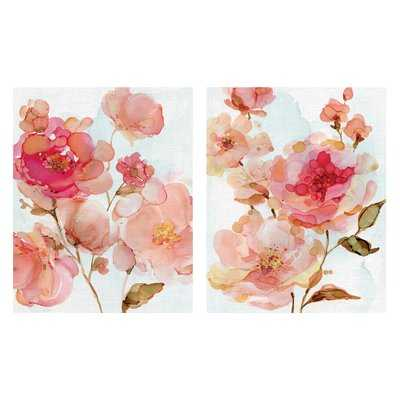 'Vivid Peonies and Roses' 2 Piece Acrylic Painting Print Set on Wrapped Canvas - Wayfair