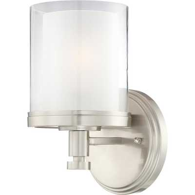 Glomar Peyton 1-Light Brushed Nickel Sconce - Home Depot