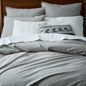 Organic Washed Cotton Duvet Cover, Full/Queen, Platinum - West Elm
