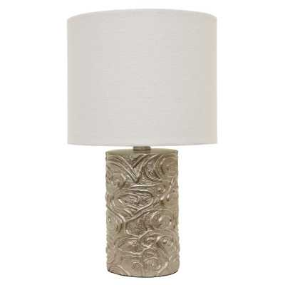 Decor Therapy Rose 18.5 in. Gold Table Lamp with Linen Shade - Home Depot