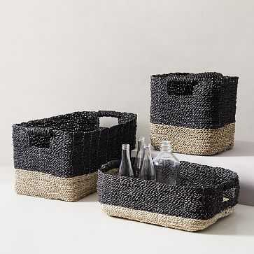 Two-Tone Woven Underbed Basket, Black/Tan (set of 3) - West Elm