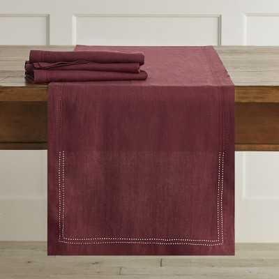 Linen Double Hemstitch Table Runner, Burgundy - Williams Sonoma