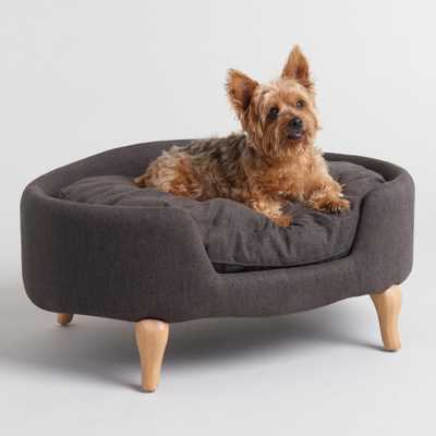 Charcoal Gray Upholstered Lola Pet Bed with Wood Legs by World Market - World Market/Cost Plus