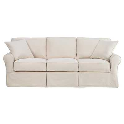 Mayfair 95 in. Classic Natural Twill Fabric Long Sofa - Home Depot