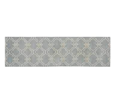Scroll Tile Rug, 2.5x9', Porcelain Blue/Ivory - Pottery Barn
