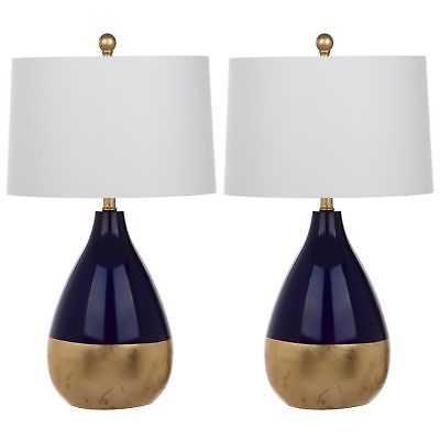 Safavieh Lighting 24-inch Kingship Navy/ Gold Table Lamp (Set of 2) - eBay