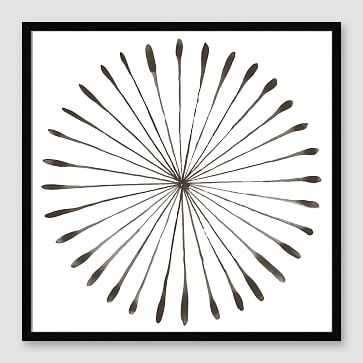 "Framed Print, Gray WaterColor Burst I, Black Frame, 20"" X 20"" - West Elm"