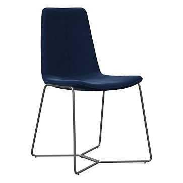 Slope Dining Chair, Charcoal Leg, Performance Velvet, Ink Blue, Charcoal - West Elm