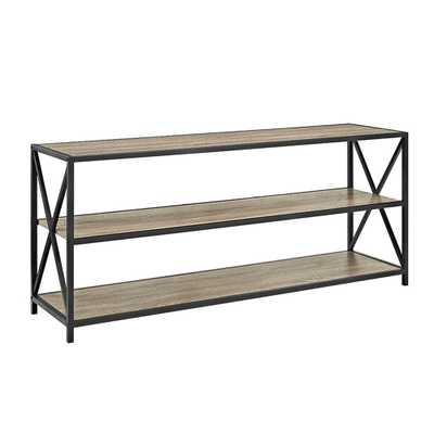 X-Frame Driftwood (Brown) Wide Metal and Wood Media Bookshelf - Home Depot