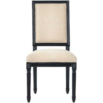 Jacques Antique Black Natural Linen Dining Chair (Set of 2) - Home Depot