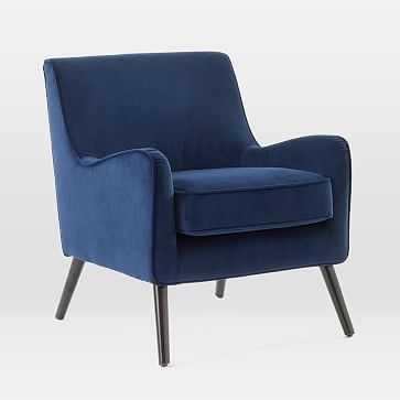 Book Nook Armchair, Ink Blue, Performance Velvet, Chocolate-Individual - West Elm