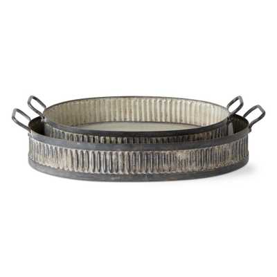 Vintage Corrugated 2-Piece Galvanized Metal Tray Set - Home Depot