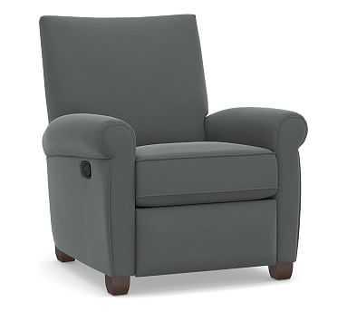 Grayson Roll Arm Upholstered Recliner, Polyester Wrapped Cushions, Performance Plush Velvet Slate - Pottery Barn