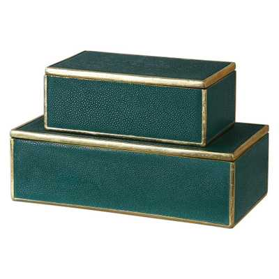 4.75 in. Decorative Boxes in Emerald Green (Set of 2) - Home Depot