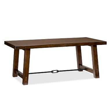 "Benchwright Dining Table, 74 x 38"" Rustic Mahogany stain - Pottery Barn"