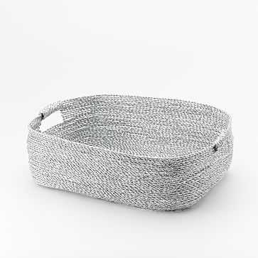Metallic Woven Baskets, Under the Bed, Silver Plastic - West Elm