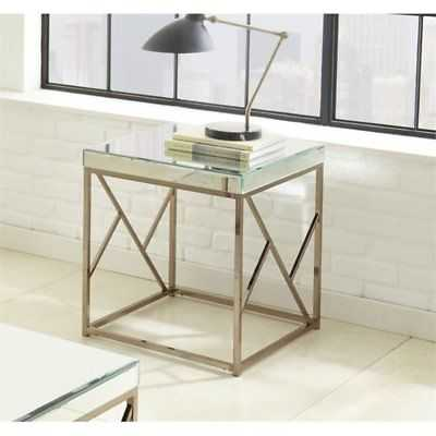 Steve Silver Evelyn Square Mirror Top End Table in Copper Chrome - eBay