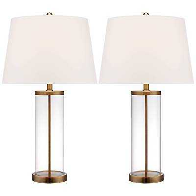 Coastal Table Lamp Glass Cylinder Gold Fillable White for Living Room Bedroom - Set of 2 - eBay