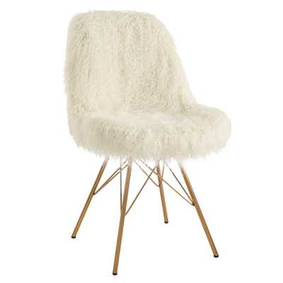 Linon Home Decor Catie Cream Faux Fur Chair with Gold Metal Base, Ivory - Home Depot