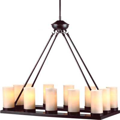 Sea Gull Lighting Ellington 30 in. W 12-Light Burnt Sienna Chandelier with Cafe Tint Glass - Home Depot