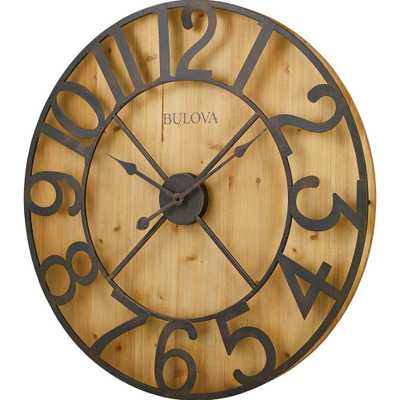 29 in. H x 29 in. W Round Gallery Wall Clock in Knotty Pine Veneer, Browns/Tans - Home Depot