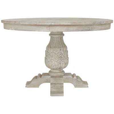 Kingsley Sandblasted White Round Dining Table - Home Depot