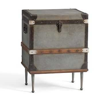 Kirkwood Trunk Side Table , Galvanized - Pottery Barn