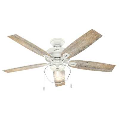 Hunter Crown Canyon 52 in. LED Indoor/Outdoor Fresh White Ceiling Fan - Home Depot