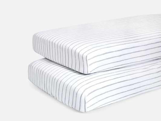 Crib Sheet Two - Fog Stripe & Mint Matchstick - Brooklinen