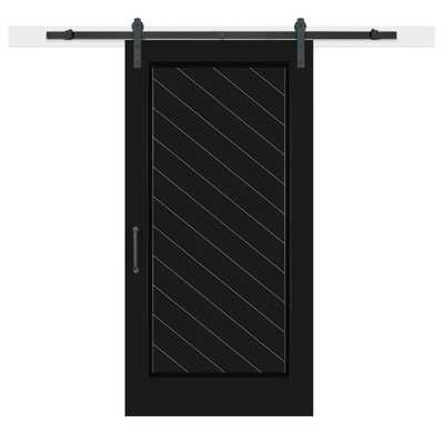 Jeff Lewis 42 in. x 84 in. Knight Composite 1-Panel Herringbone Solid-Core MDF Barn Door with Sliding Door Hardware Kit - Home Depot