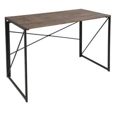 Dakota Brown Wood and Black Metal Desk, Black/Brown - Home Depot